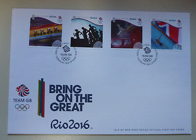 2016 Isle Of Man Rio Olympics 4 Stamps First Day Cover