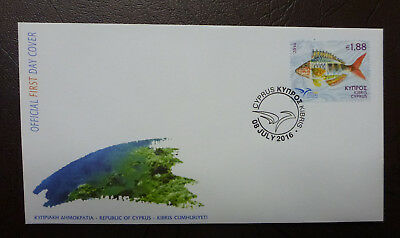 2016 Cyprus Greek Fish Stamp Issue Fdc First Day Cover