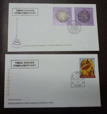 2010 Cyprus Christmas Set Of 3 Stamps On 2 Covers Fdc First Day Covers