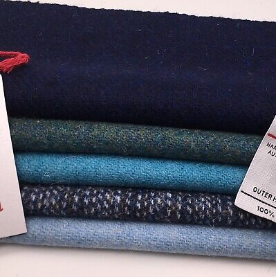 HARRIS TWEED FABRIC Bundle Blues & Greens & Free Labels, ideal for craft