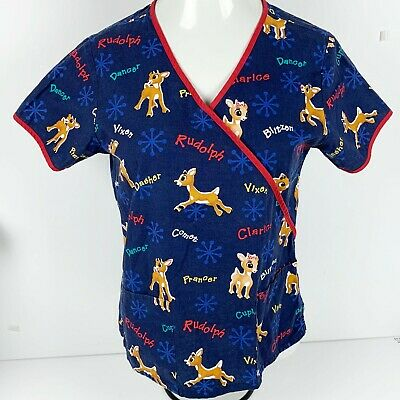 6a40e3073d9 Rudolph the Red Nosed Reindeer Christmas Holiday Scrub Top Shirt Womens S