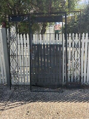Large Vintage Wrought Iron Security Door  -  Retro Garden Creeper Frame Trellis