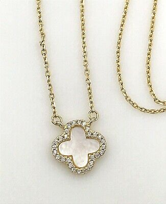 Vintage .925 Sterling Silver Vermeil, MOP & CZ Trim Petite Clover Cross Necklace