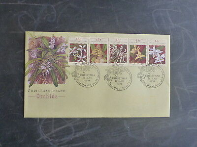 1994 Christmas Island Orchids Set 5 Stamps Fdc First Day Cover