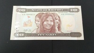 World Banknotes: State of Eritrea 1997  Ten Nakfa  Uncirculated