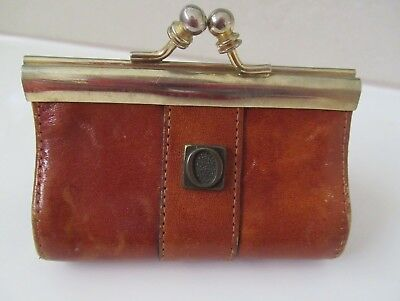 Vintage OROTON TAN LEATHER COIN PURSE with kiss lock Made in Italy, VGC