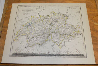 c1850 Antique COLOR Map///SWITZERLAND, published by Orr and Company