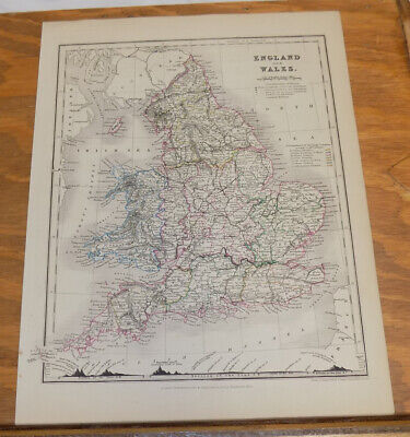 c1850 Antique COLOR Map///ENGLAND AND WALES, published by Orr and Company