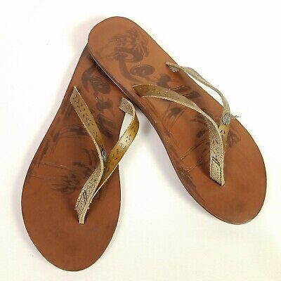 336fb162a New Roxy Brown Faux Leather Eyelet Sandal Flip Flop Womens Size 7