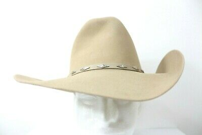 5201ee3bfc329 Resistol Beige Made in USA Long Oval Cowboy Western Hat 4X Beaver Size 6 7
