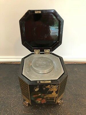 Antique Chinese Gilt Lacquered Footed Tea Caddy W Original Pewter Container