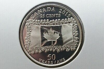 2015 CANADA FLAG 25 CENT QUARTER COIN NO COLOUR BU,  Taken from mint roll.