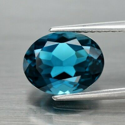 3.09ct 9.7x7.6mm IF Oval Natural London Blue Topaz, Brazil
