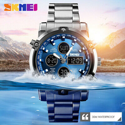 Skmei Watch Sport Mens Watches 30M Waterproof Digital Stainless Steel Wristwatch