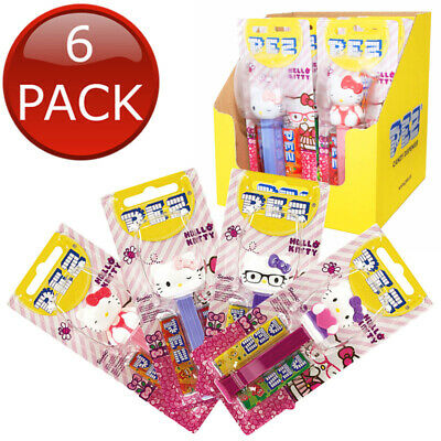 6 x PEZ DISPENSER HELLO KITTY COLLECTABLE CANDY LOLLY HOLDER CHARACTER TOY 17g
