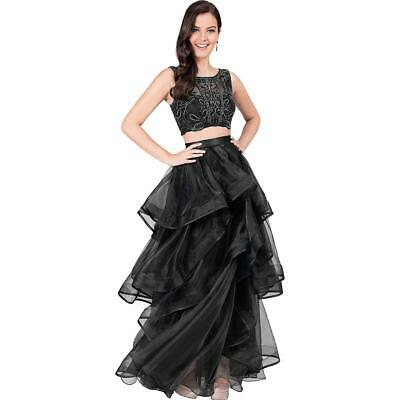 12496400e6f Terani Couture Black Prom Beaded Two Piece Crop Top Dress Gown 8 BHFO 9185