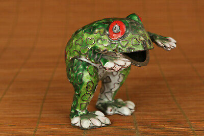 chinese old cloisonne hand carved frog statue netsuke collectable art