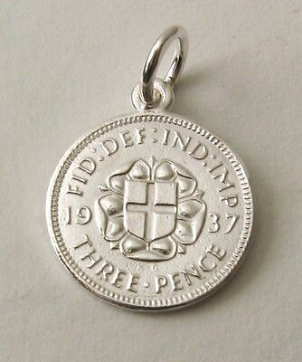 SOLID 925 STERLING SILVER UK 1937 THREE PENCE COIN Charm/Pendant