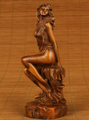 chinese old boxwood hand carved dance girl statue netsuke collectable