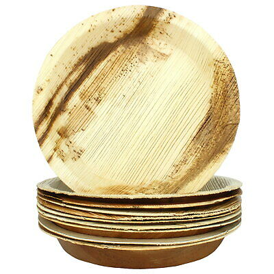 Natural Palm Leaf Plates Small Round 10 Biodegradable Eco-Friendly Party