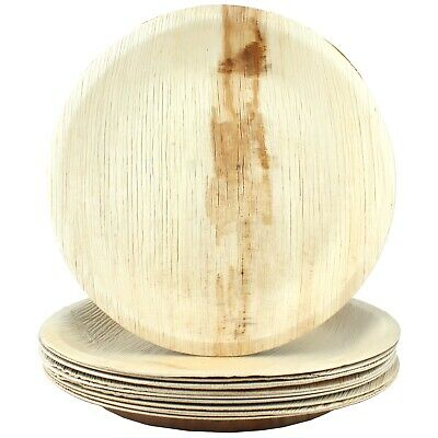 Natural Palm Leaf Plates Large Round 10 Biodegradable Eco-Friendly Party