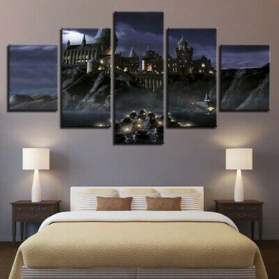 Framed Home Decor Harry Potter Castle Canvas Print Painting Wall Art Poster 5PCS