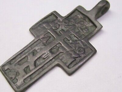 ANCIENT BRONZE CROSS RARE. RELIGIOUS ARTIFACT IN GREAT CONDITION. 50мм Wearable.