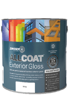 Zinsser Allcoat Extérieur Durable 15 An Protection Sb Blanc Brillant 1L
