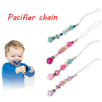 Newborn Product Baby Pacifier Chain Dummy Clasps Soother Holder Silicone Beads