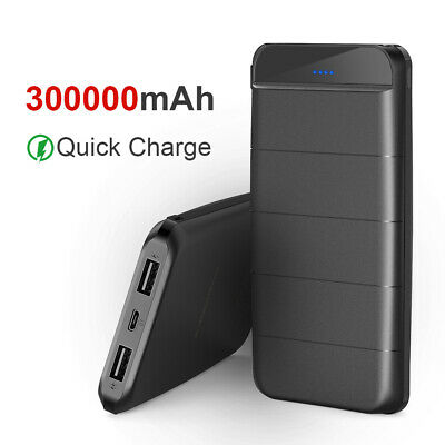 300000mAh Portable Power Bank Fast Charging 2 USB LED Type-C For Samsung Apple