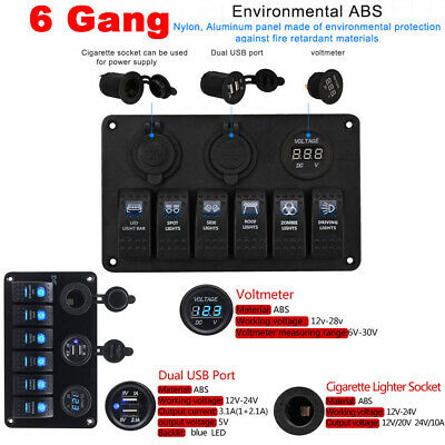 6 Gang Switch Panel 2USB 12V ON-OFF Toggle for Car SUV Marine RV Truck Camper