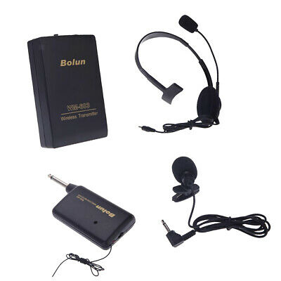 Wireless FM Transmitter Receiver Lavalier Clip Microphone Mic System Black