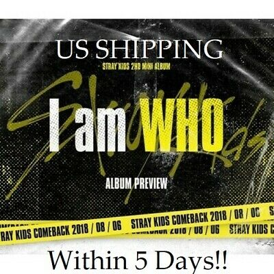 US SHIPPING Stray Kids-[I am WHO] 2nd Mini Random CD+Poster/On+Book+Card