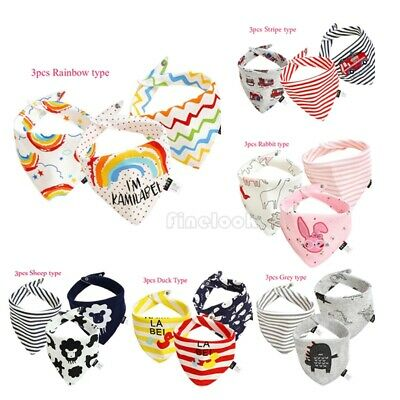 3Pcs Infant Kids Baby Bibs Boy Girl Saliva Towel Dribble Bandana Feeding Apron