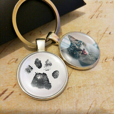 Pet Memorial Twin Charm with Pet Paw Print and Photo Dog Cat Paw Imprint Keyring