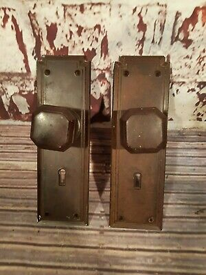 Antique Vintage Old Art Deco Nouveau Brown Bakelite Door Handle Plate 1930s