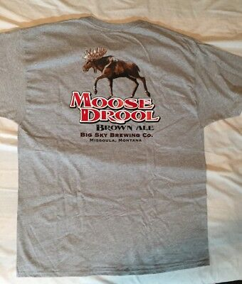 Big Sky Brewery Montana Beer Moose Drool T-shirt XL New Cotton Hanes