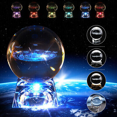 60mm 3D Clear Glass Engrave Solar System Crystal Ball +LED/Metal Base Gift UK