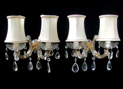 Magnificent Pair, Vintage French Provincial Crystal Chandelier Wall Sconces