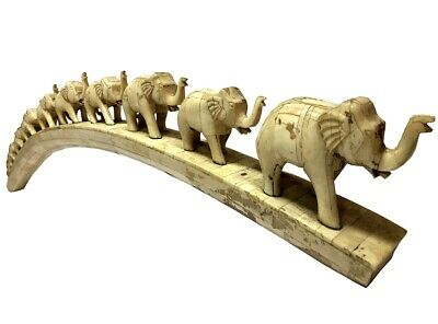 Statue Lucky Elephants Old Sculpture African Art Décor Walking Figurine OA 044