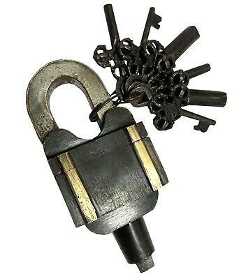 Brass Collectible Tricky Vintage Keys Puzzle Padlock Antique Master Lock BL 040