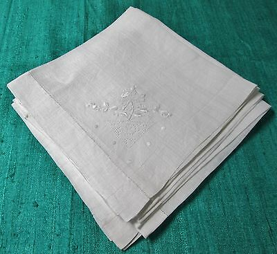 Antique 8 Linen Lawn Napkins Corner Embroidery & Filet Lace Hemtitched