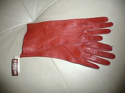 Vintage, new with tags washable Miloré red leather over-the-wrist gloves. Size 7