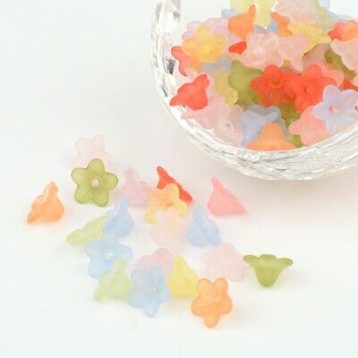 100pcs Mixed Colour Frosted Transparent Acrylic Flower Bead Cap Covers 10mm