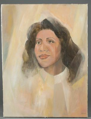 Merton Simpson Painting African American Artist  Aretha Franklin 20 X 16 Inches
