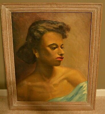 American Negress 1940S Painting African American Art Oil On Canvas Fantastic !!