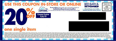 Bed Bath & Beyond Coupon: 20% Off One Item In Store or Online, Exp. 4/8/19