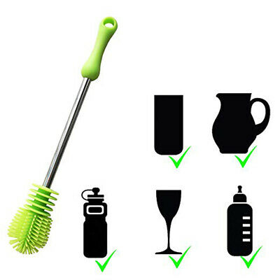 Green Durable Kitchen Cleaning Dirt Bottle Brush Scrubbing Replacement Silicone