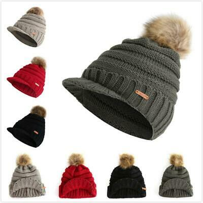 ffc43f4a04e Lady Women Pom Ball Cable Knit Visor Brim Beanie Hat Chunky Winter Skully  Cap 6L