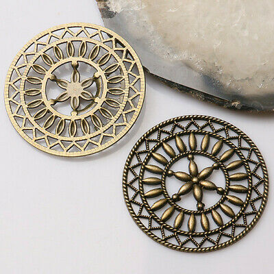 5pcs antiqued bronze round shaped constellation design cabochon settings  EF0927